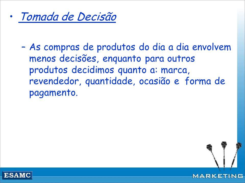 Tomada de Decisão –As compras de produtos do dia a dia envolvem menos decisões, enquanto para outros produtos decidimos quanto a: marca, revendedor, q