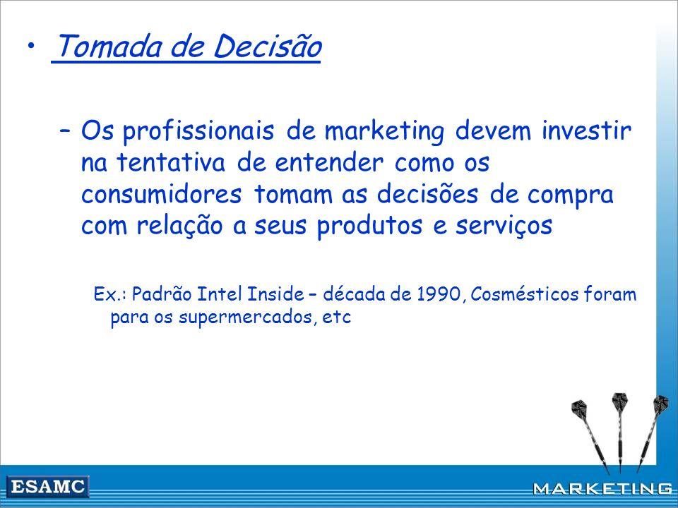 Tomada de Decisão –Os profissionais de marketing devem investir na tentativa de entender como os consumidores tomam as decisões de compra com relação