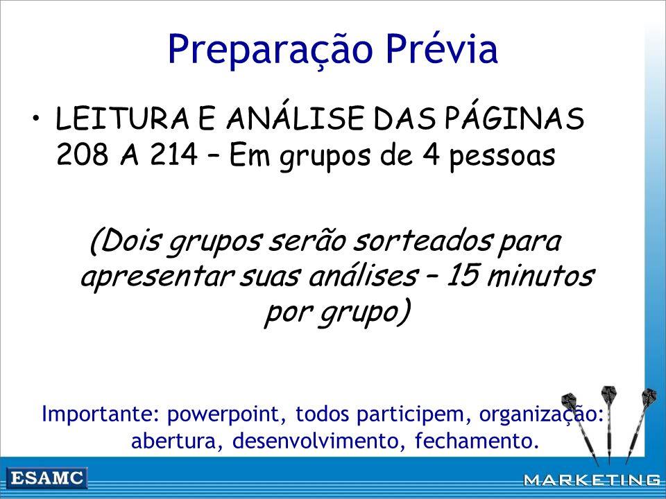 Preparação Prévia LEITURA E ANÁLISE DAS PÁGINAS 208 A 214 – Em grupos de 4 pessoas (Dois grupos serão sorteados para apresentar suas análises – 15 min