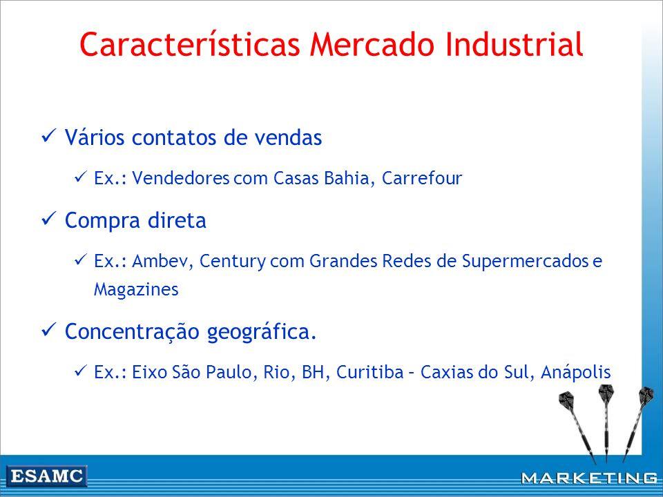Características Mercado Industrial Vários contatos de vendas Ex.: Vendedores com Casas Bahia, Carrefour Compra direta Ex.: Ambev, Century com Grandes