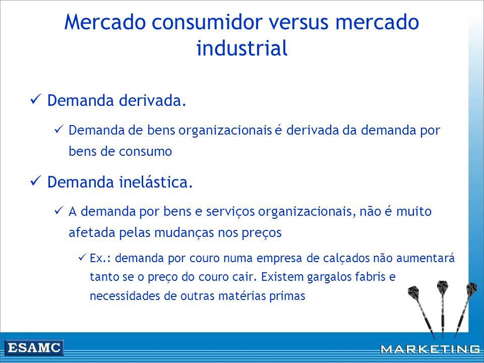 Mercado consumidor versus mercado industrial Demanda derivada. Demanda de bens organizacionais é derivada da demanda por bens de consumo Demanda inelá