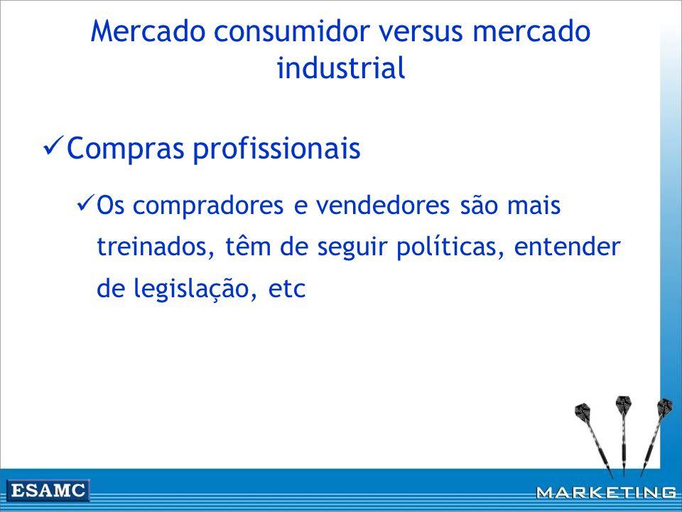 Mercado consumidor versus mercado industrial Compras profissionais Os compradores e vendedores são mais treinados, têm de seguir políticas, entender d