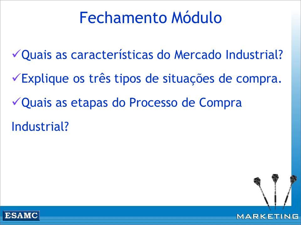 Quais as características do Mercado Industrial? Explique os três tipos de situações de compra. Quais as etapas do Processo de Compra Industrial? Fecha
