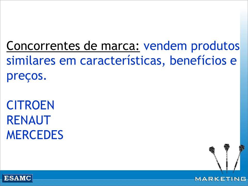 Concorrentes de marca: vendem produtos similares em características, benefícios e preços. CITROEN RENAUT MERCEDES
