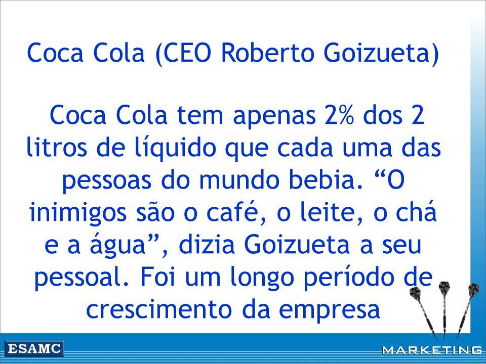 Coca Cola (CEO Roberto Goizueta) Coca Cola tem apenas 2% dos 2 litros de líquido que cada uma das pessoas do mundo bebia. O inimigos são o café, o lei