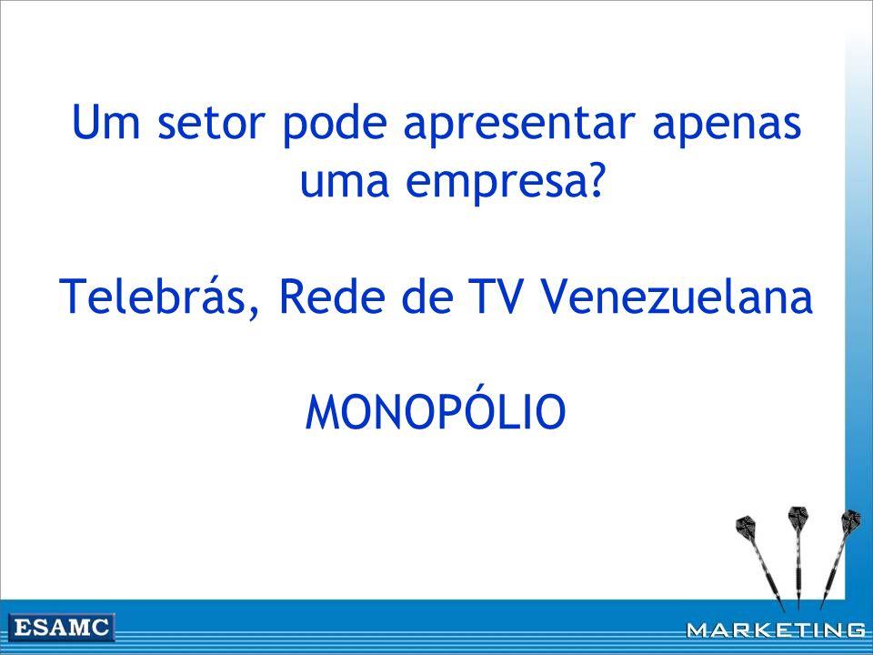 Um setor pode apresentar apenas uma empresa? Telebrás, Rede de TV Venezuelana MONOPÓLIO