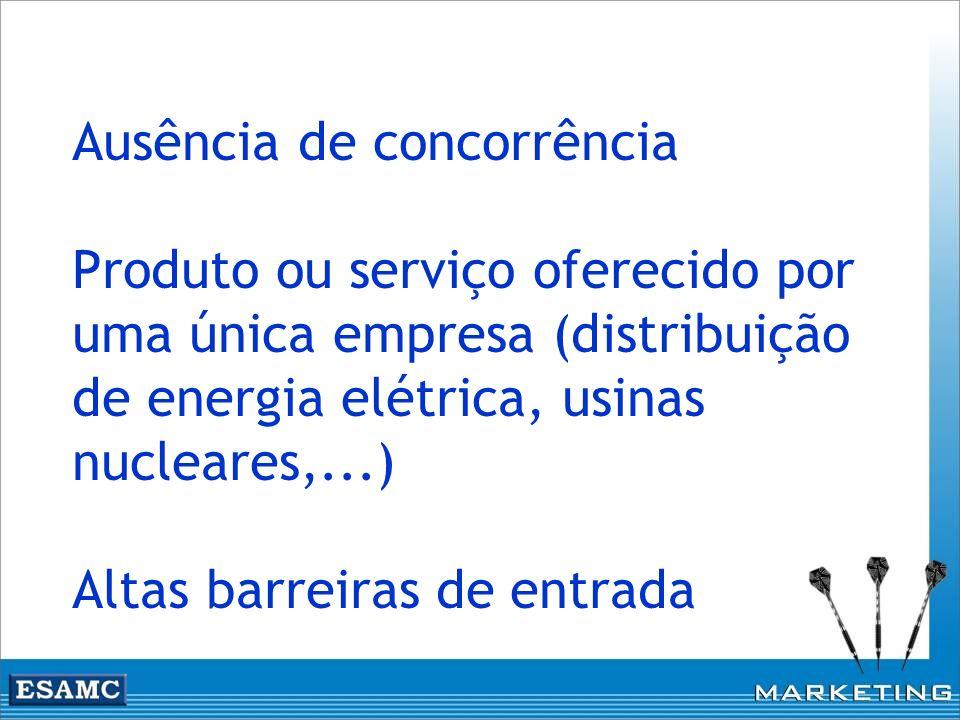 Ausência de concorrência Produto ou serviço oferecido por uma única empresa (distribuição de energia elétrica, usinas nucleares,...) Altas barreiras d