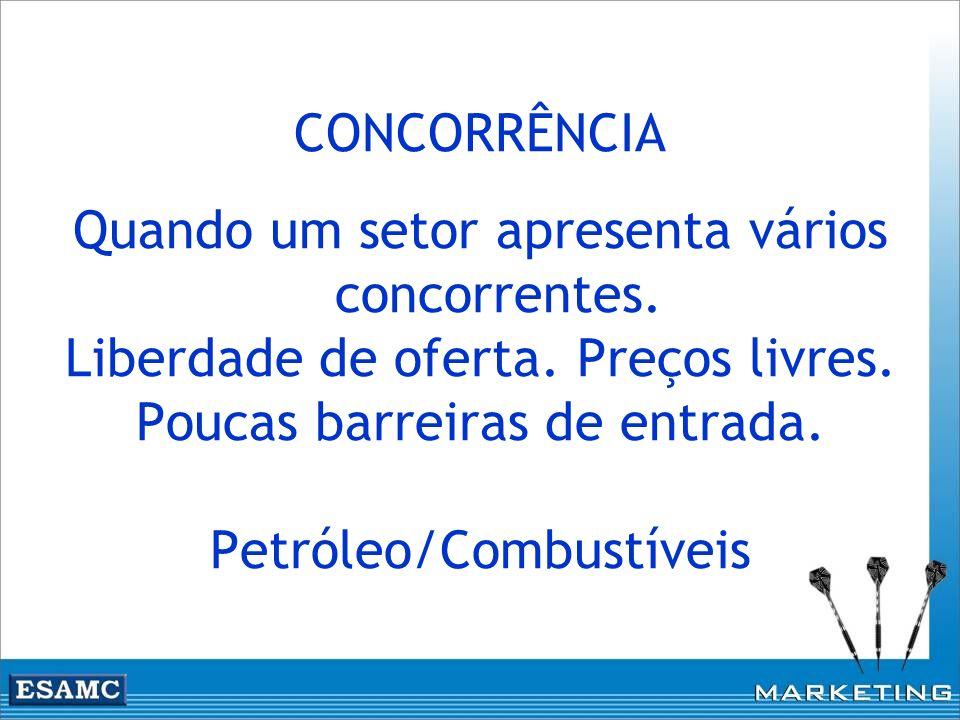 CONCORRÊNCIA Quando um setor apresenta vários concorrentes. Liberdade de oferta. Preços livres. Poucas barreiras de entrada. Petróleo/Combustíveis