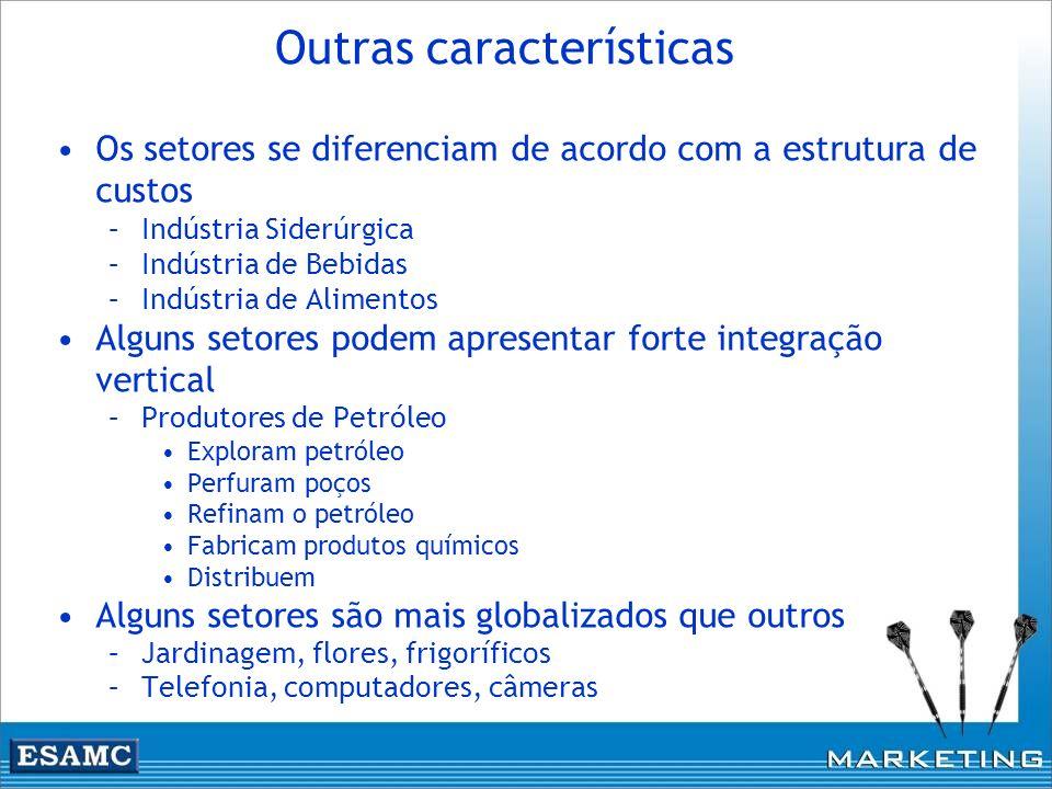 Outras características Os setores se diferenciam de acordo com a estrutura de custos –Indústria Siderúrgica –Indústria de Bebidas –Indústria de Alimen