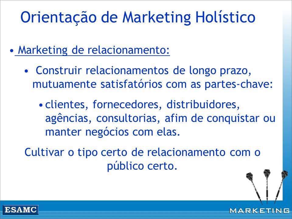 Marketing de relacionamento: Construir relacionamentos de longo prazo, mutuamente satisfatórios com as partes-chave: clientes, fornecedores, distribui
