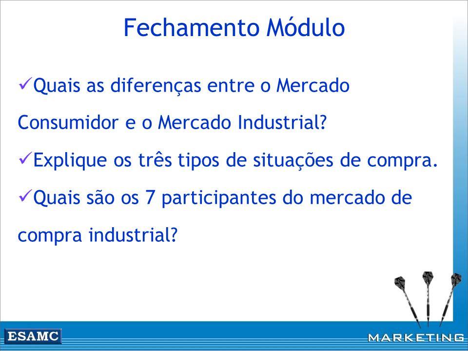 Quais as diferenças entre o Mercado Consumidor e o Mercado Industrial? Explique os três tipos de situações de compra. Quais são os 7 participantes do