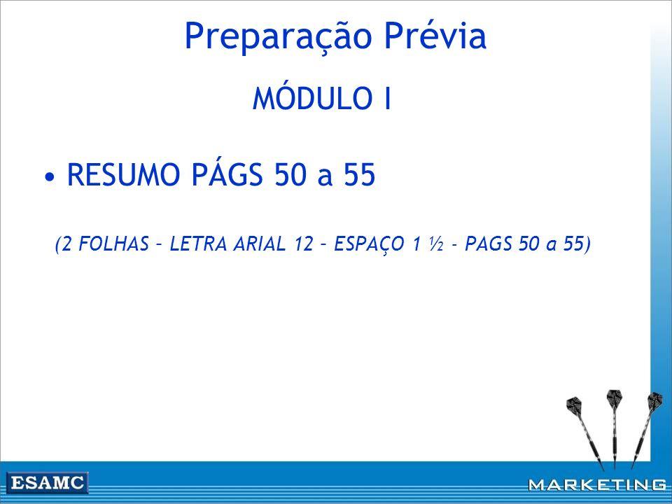 Preparação Prévia MÓDULO I RESUMO PÁGS 50 a 55 (2 FOLHAS – LETRA ARIAL 12 – ESPAÇO 1 ½ - PAGS 50 a 55)