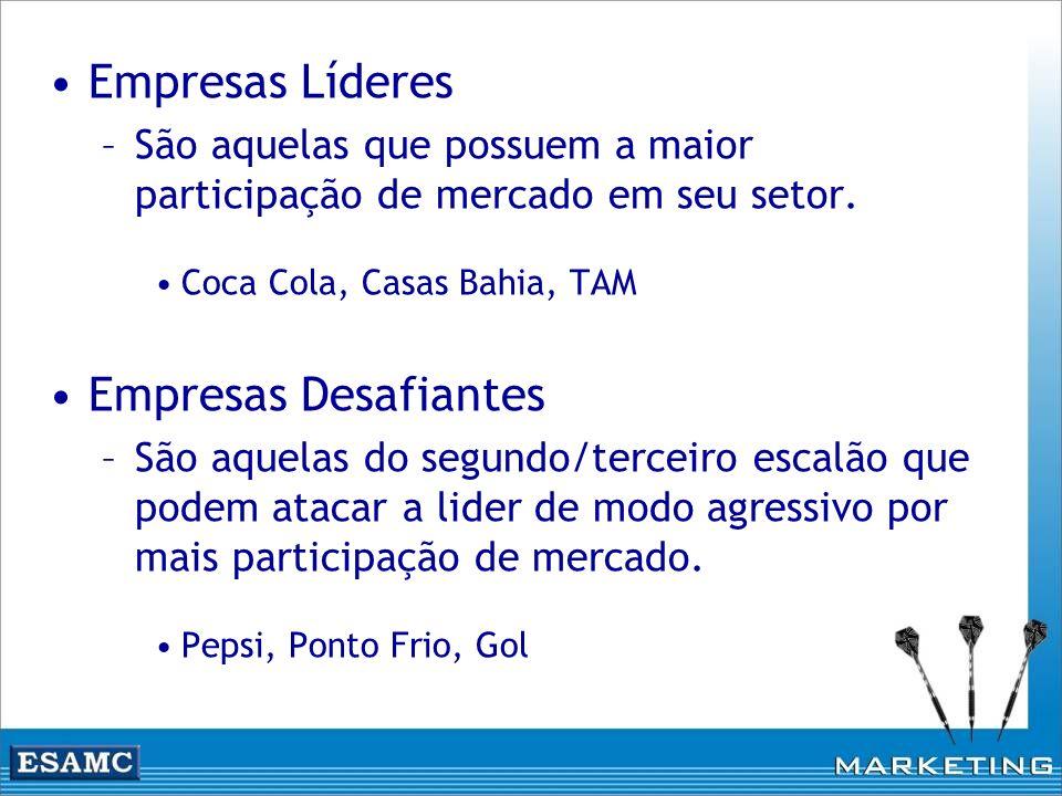 Empresas Líderes –São aquelas que possuem a maior participação de mercado em seu setor. Coca Cola, Casas Bahia, TAM Empresas Desafiantes –São aquelas
