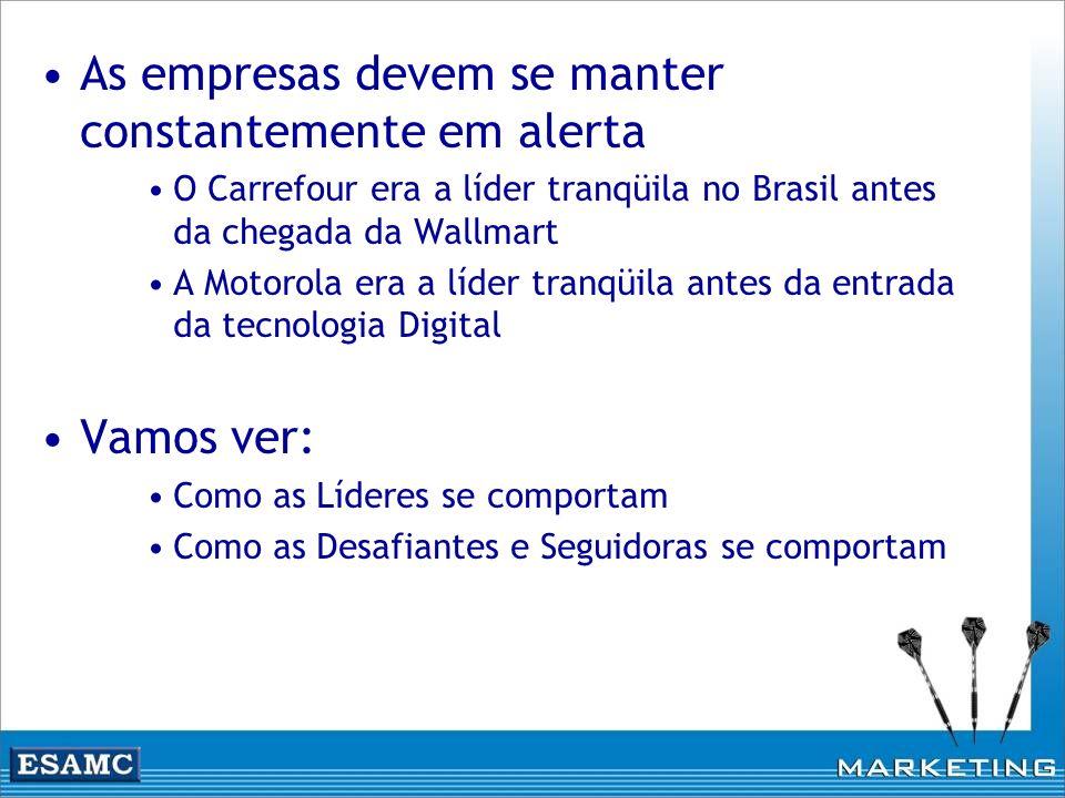 As empresas devem se manter constantemente em alerta O Carrefour era a líder tranqüila no Brasil antes da chegada da Wallmart A Motorola era a líder t