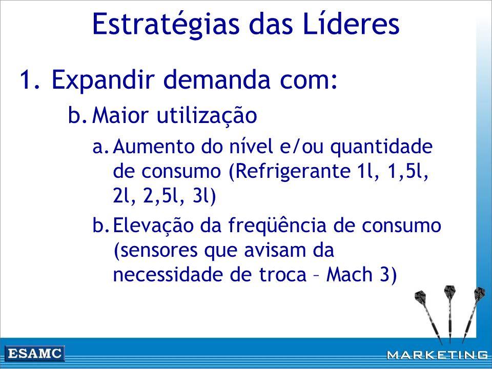 1.Expandir demanda com: b.Maior utilização a.Aumento do nível e/ou quantidade de consumo (Refrigerante 1l, 1,5l, 2l, 2,5l, 3l) b.Elevação da freqüênci