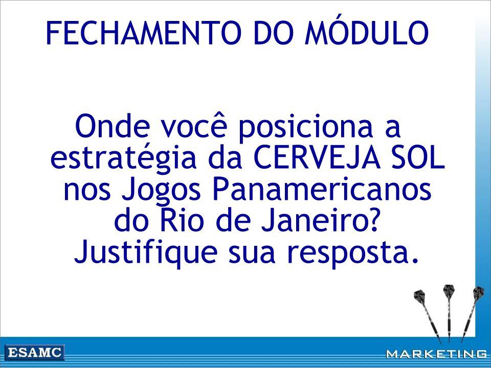 Onde você posiciona a estratégia da CERVEJA SOL nos Jogos Panamericanos do Rio de Janeiro? Justifique sua resposta. FECHAMENTO DO MÓDULO