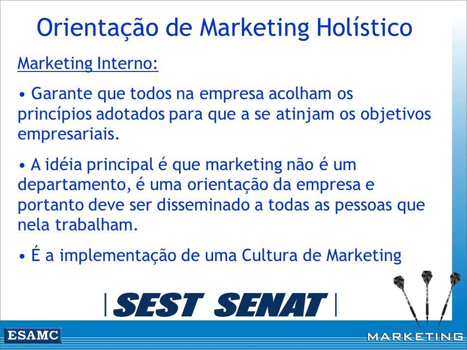 Marketing Interno: Garante que todos na empresa acolham os princípios adotados para que a se atinjam os objetivos empresariais. A idéia principal é qu