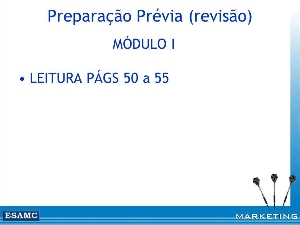 Preparação Prévia (revisão) MÓDULO I LEITURA PÁGS 50 a 55