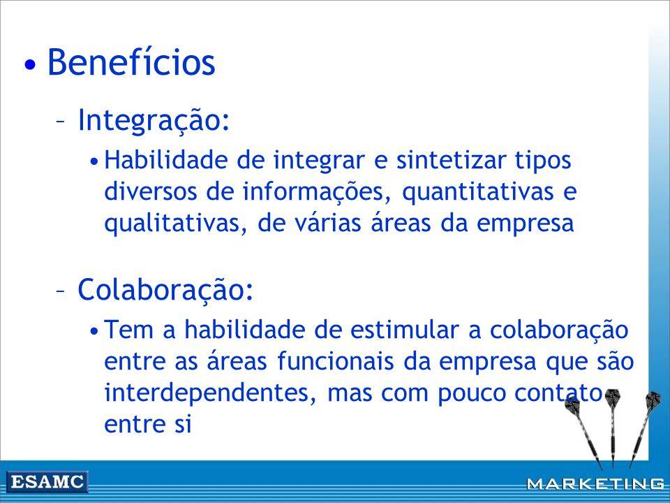 Benefícios –Integração: Habilidade de integrar e sintetizar tipos diversos de informações, quantitativas e qualitativas, de várias áreas da empresa –C