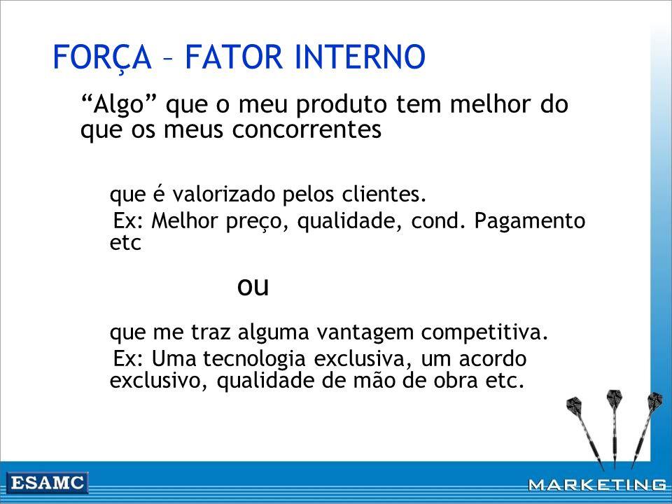 FORÇA – FATOR INTERNO Algo que o meu produto tem melhor do que os meus concorrentes que é valorizado pelos clientes. Ex: Melhor preço, qualidade, cond