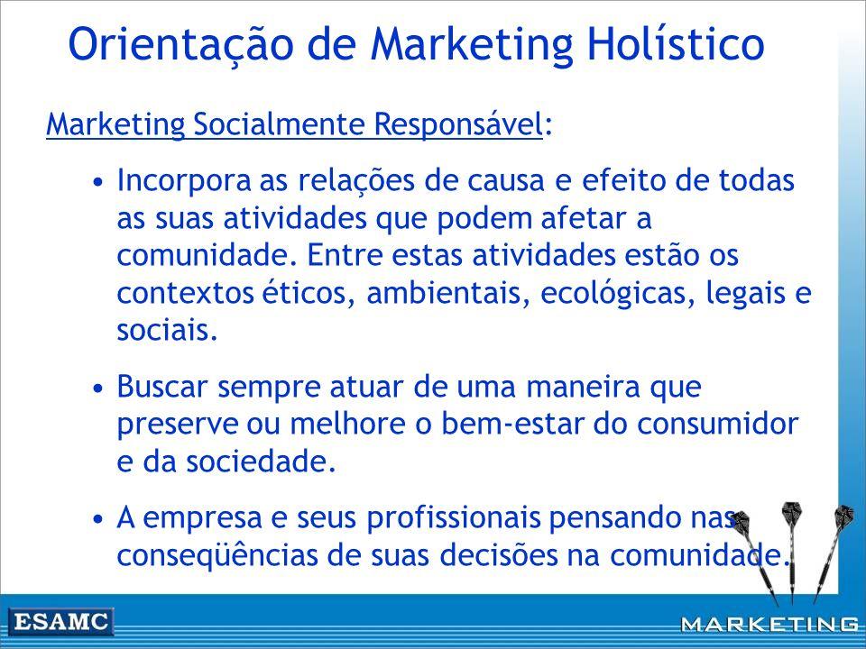 Marketing Socialmente Responsável: Incorpora as relações de causa e efeito de todas as suas atividades que podem afetar a comunidade. Entre estas ativ