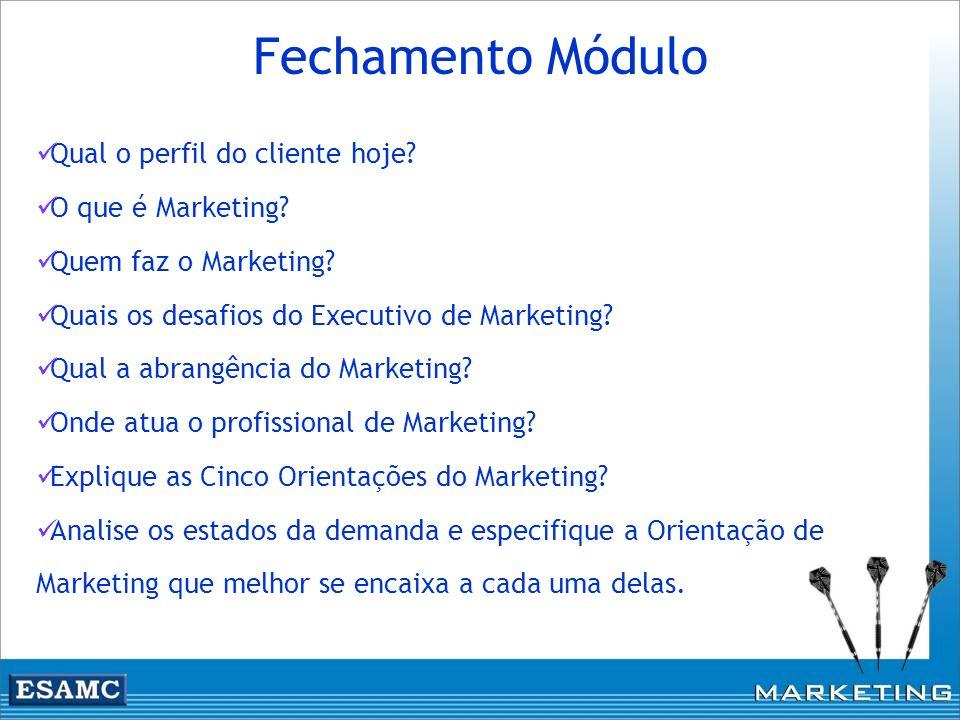 Qual o perfil do cliente hoje? O que é Marketing? Quem faz o Marketing? Quais os desafios do Executivo de Marketing? Qual a abrangência do Marketing?