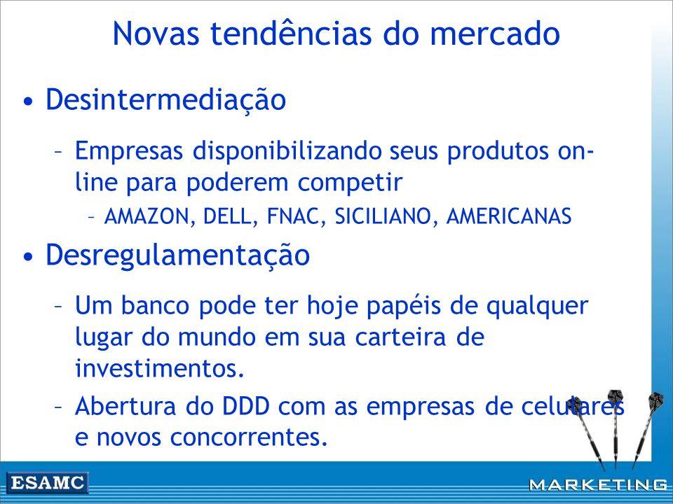 Novas tendências do mercado Desintermediação –Empresas disponibilizando seus produtos on- line para poderem competir –AMAZON, DELL, FNAC, SICILIANO, A