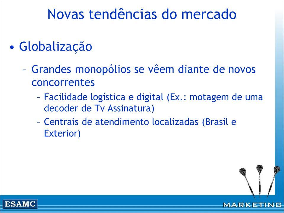 Novas tendências do mercado Globalização –Grandes monopólios se vêem diante de novos concorrentes –Facilidade logística e digital (Ex.: motagem de uma