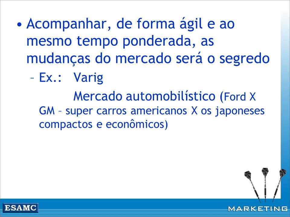 Acompanhar, de forma ágil e ao mesmo tempo ponderada, as mudanças do mercado será o segredo –Ex.: Varig Mercado automobilístico ( Ford X GM – super ca