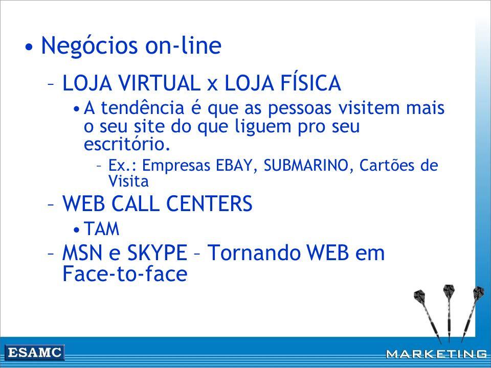 Negócios on-line –LOJA VIRTUAL x LOJA FÍSICA A tendência é que as pessoas visitem mais o seu site do que liguem pro seu escritório. –Ex.: Empresas EBA