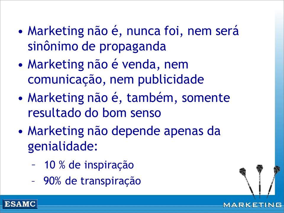 Marketing não é, nunca foi, nem será sinônimo de propaganda Marketing não é venda, nem comunicação, nem publicidade Marketing não é, também, somente r