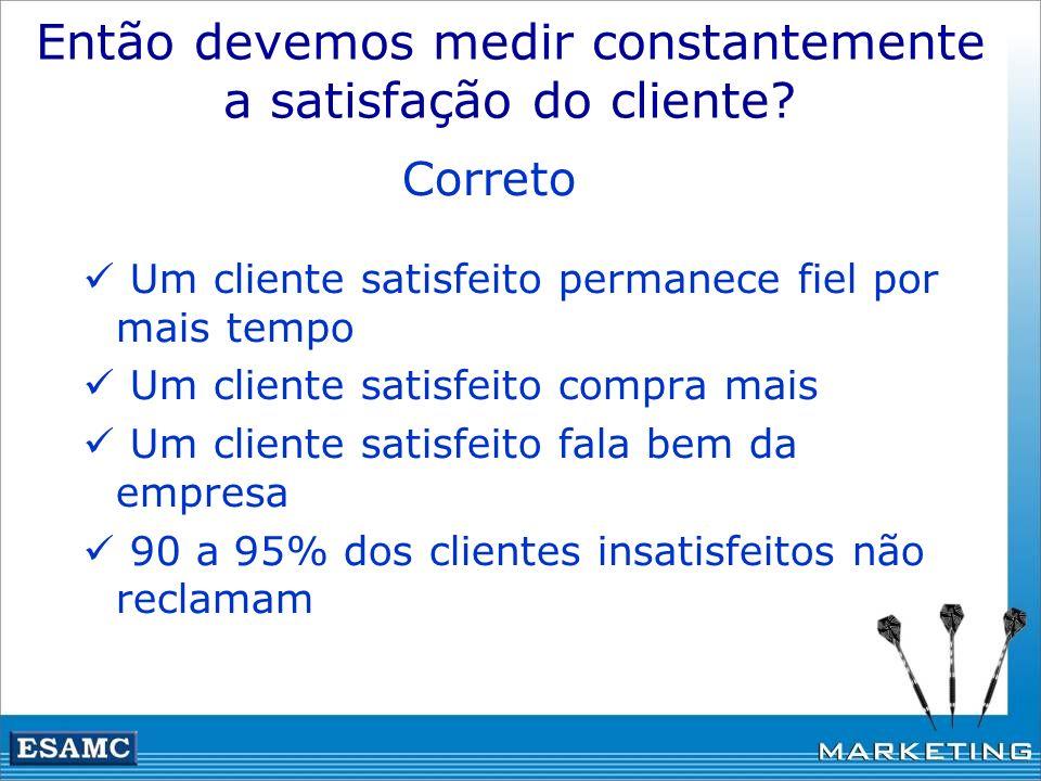 Então devemos medir constantemente a satisfação do cliente? Correto Um cliente satisfeito permanece fiel por mais tempo Um cliente satisfeito compra m