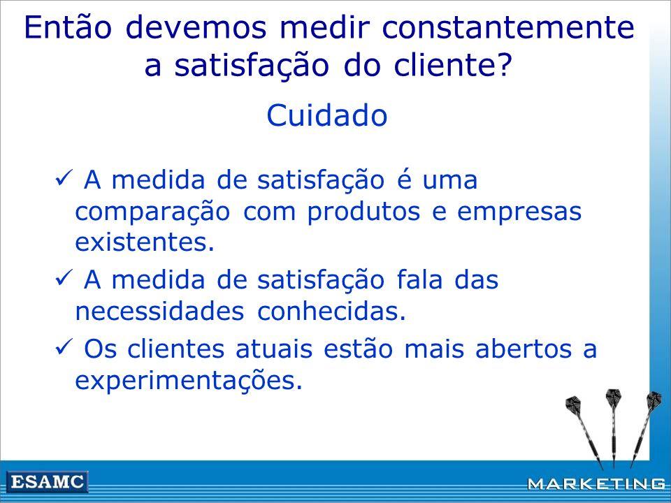 Então devemos medir constantemente a satisfação do cliente? Cuidado A medida de satisfação é uma comparação com produtos e empresas existentes. A medi