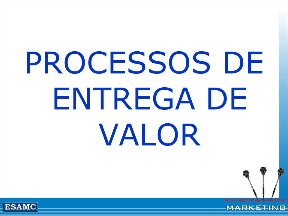 P.Kotler- Administração de marketing PROCESSOS DE ENTREGA DE VALOR