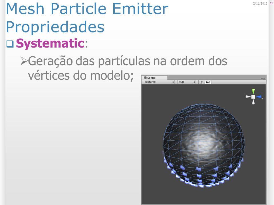 Particle Animator Animador de Partículas Move / transforma / anima as partículas conforme o tempo passa; Determina características individuais de uma partícula; Mudança de: Cor, rotação, tamanho, aceleração; 14 2/11/2013