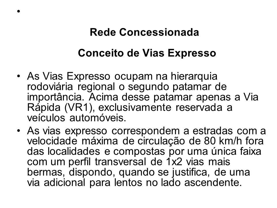 Rede Concessionada Conceito de Vias Expresso As Vias Expresso ocupam na hierarquia rodoviária regional o segundo patamar de importância. Acima desse p