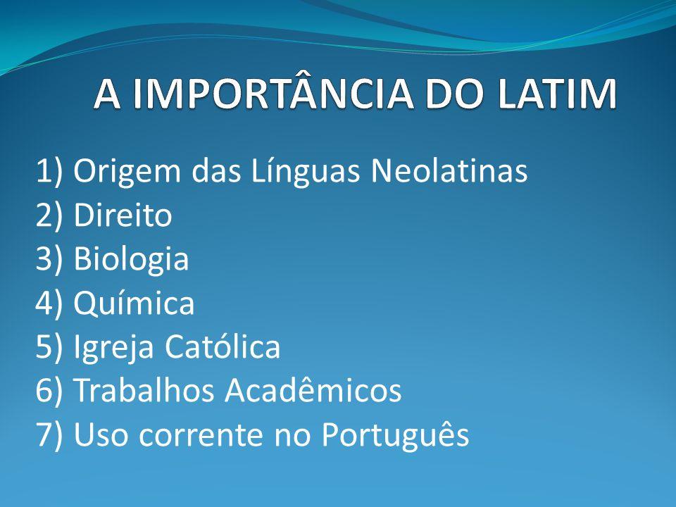 1) Origem das Línguas Neolatinas 2) Direito 3) Biologia 4) Química 5) Igreja Católica 6) Trabalhos Acadêmicos 7) Uso corrente no Português