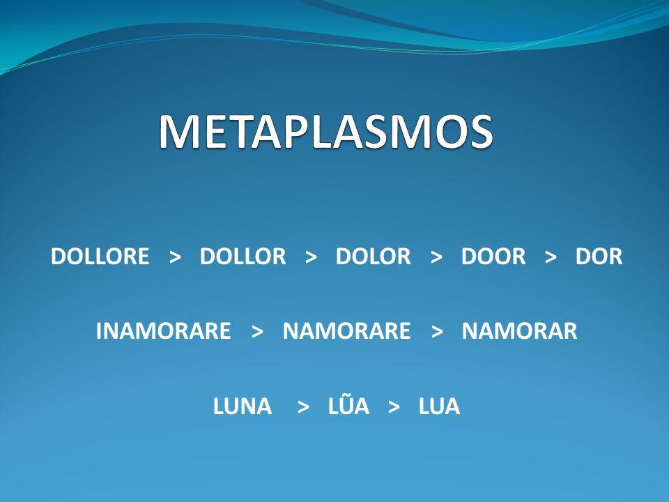 DOLLORE > DOLLOR > DOLOR > DOOR > DOR INAMORARE > NAMORARE > NAMORAR LUNA > LŨA > LUA