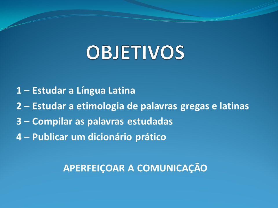 1 – Estudar a Língua Latina 2 – Estudar a etimologia de palavras gregas e latinas 3 – Compilar as palavras estudadas 4 – Publicar um dicionário prátic