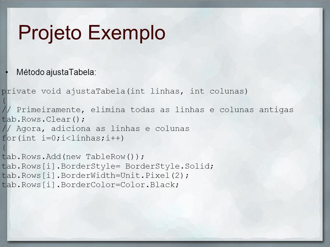 Projeto Exemplo Método ajustaTabela: private void ajustaTabela(int linhas, int colunas) { // Primeiramente, elimina todas as linhas e colunas antigas