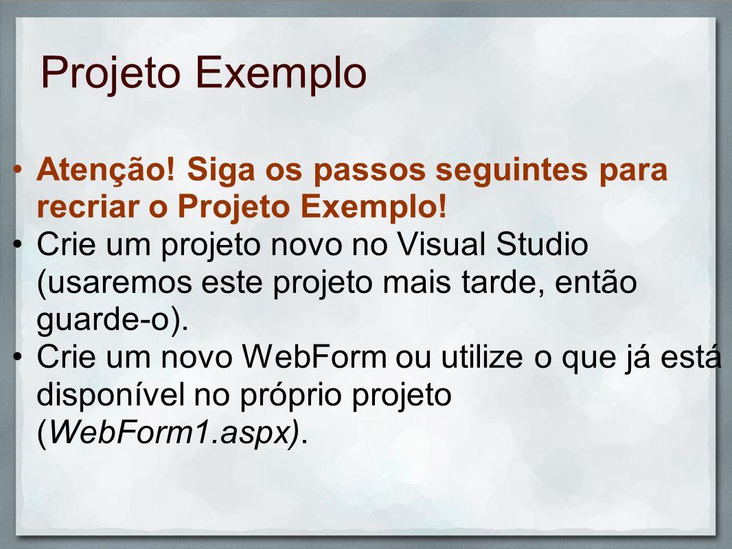 Projeto Exemplo Atenção! Siga os passos seguintes para recriar o Projeto Exemplo! Crie um projeto novo no Visual Studio (usaremos este projeto mais ta