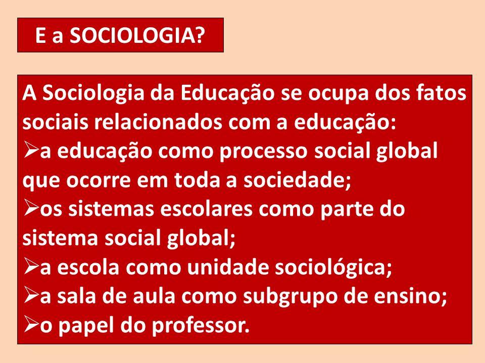 E a SOCIOLOGIA? A Sociologia da Educação se ocupa dos fatos sociais relacionados com a educação: a educação como processo social global que ocorre em