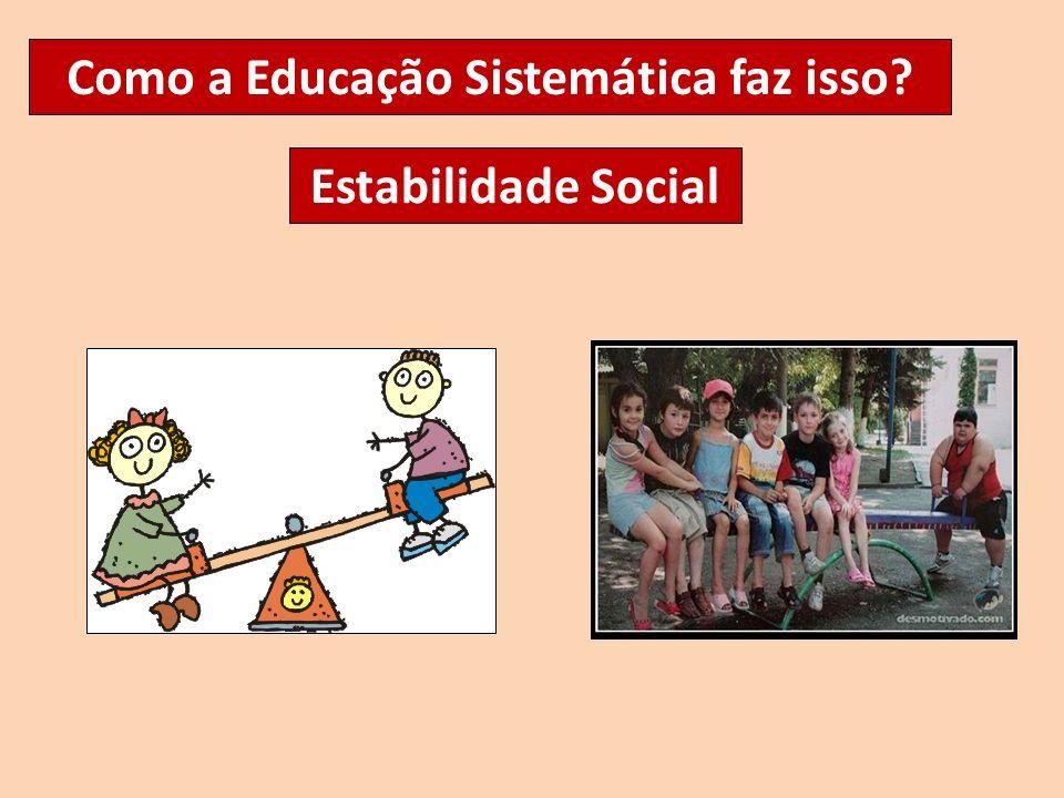 Como a Educação Sistemática faz isso? Estabilidade Social