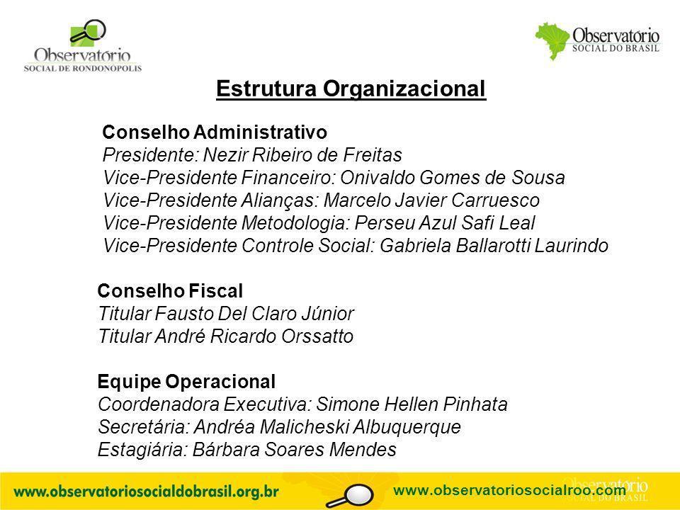 Logo do OS Estrutura Organizacional Conselho Administrativo Presidente: Nezir Ribeiro de Freitas Vice-Presidente Financeiro: Onivaldo Gomes de Sousa V