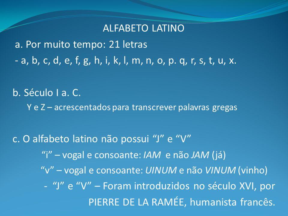 ALFABETO LATINO a.Por muito tempo: 21 letras - a, b, c, d, e, f, g, h, i, k, l, m, n, o, p.