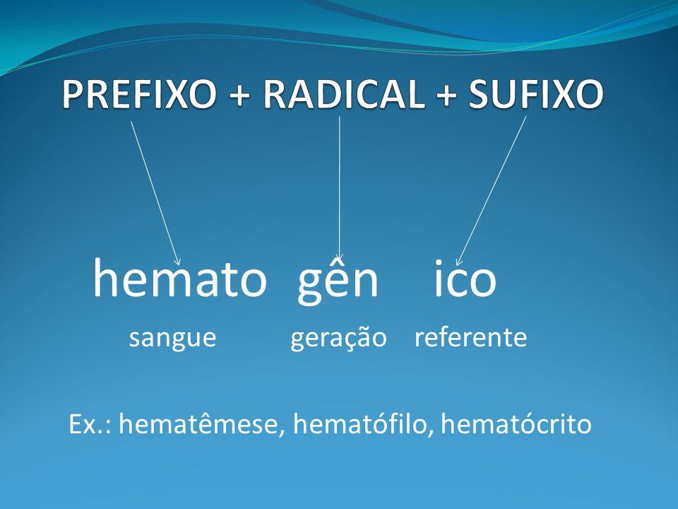 hemato gên ico sangue geração referente Ex.: hematêmese, hematófilo, hematócrito