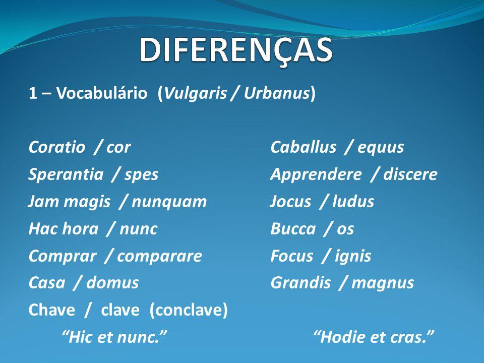 1 – Vocabulário (Vulgaris / Urbanus) Coratio / corCaballus / equus Sperantia / spesApprendere / discere Jam magis / nunquamJocus / ludus Hac hora / nuncBucca / os Comprar / comparareFocus / ignis Casa / domusGrandis / magnus Chave / clave (conclave) Hic et nunc.