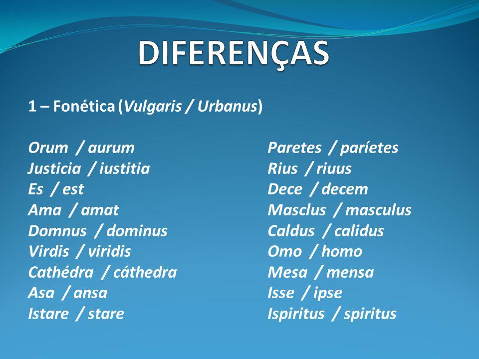 1 – Fonética (Vulgaris / Urbanus) Orum / aurumParetes / paríetes Justicia / iustitiaRius / riuus Es / estDece / decem Ama / amatMasclus / masculus Domnus / dominusCaldus / calidus Virdis / viridisOmo / homo Cathédra / cáthedraMesa / mensa Asa / ansaIsse / ipse Istare / stareIspiritus / spiritus