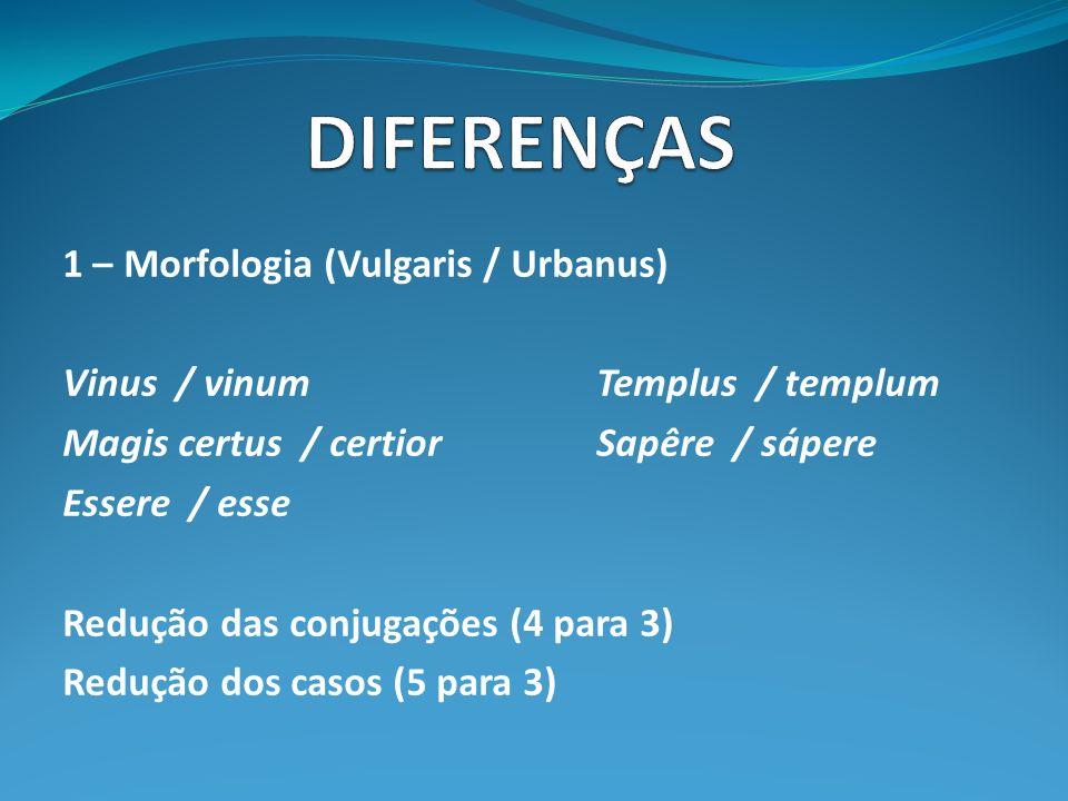 1 – Morfologia (Vulgaris / Urbanus) Vinus / vinumTemplus / templum Magis certus / certiorSapêre / sápere Essere / esse Redução das conjugações (4 para 3) Redução dos casos (5 para 3)