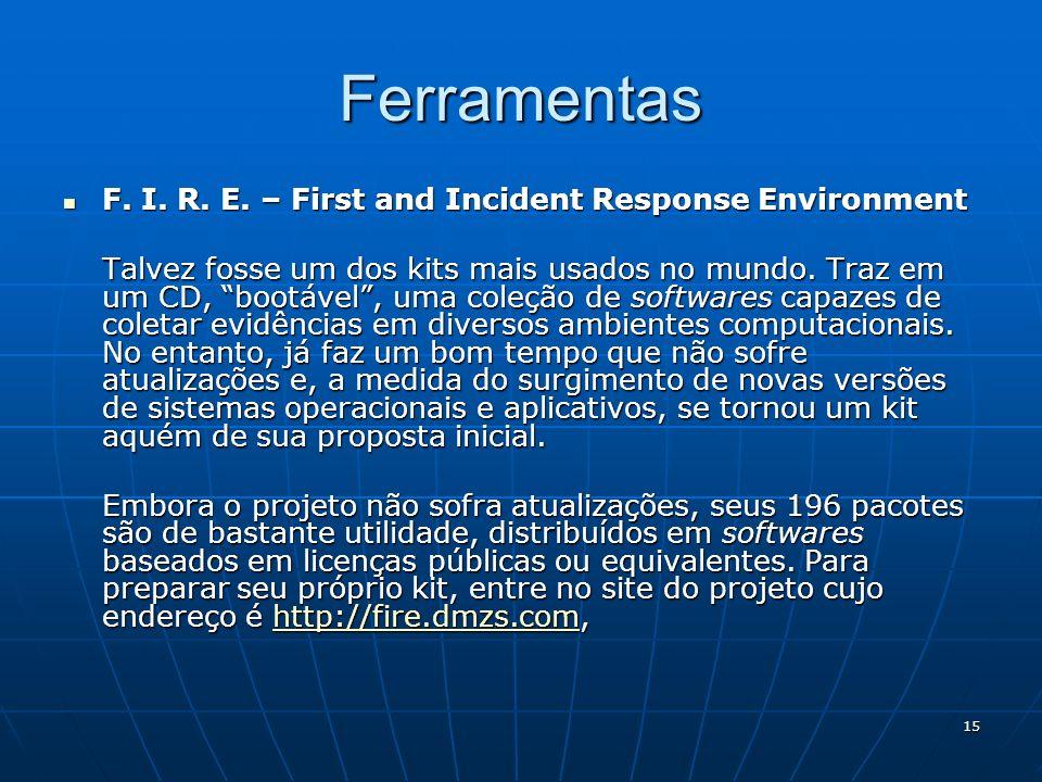 15 Ferramentas F. I. R. E. – First and Incident Response Environment F. I. R. E. – First and Incident Response Environment Talvez fosse um dos kits ma
